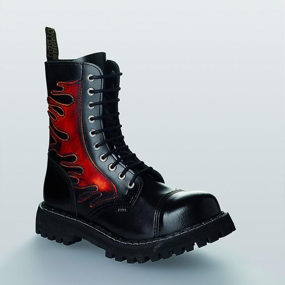 Bocanci Steel Boots Black Red Flames 10 inele