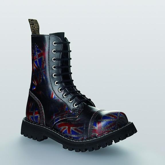 Bocanci Steel Boots Black UK Flag 10 inele